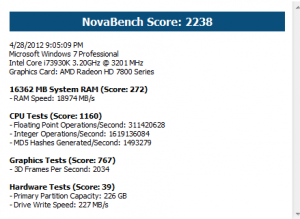 Benchmark results for NovaBench