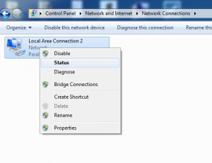 Windows 7 Network Adapter Status Selection