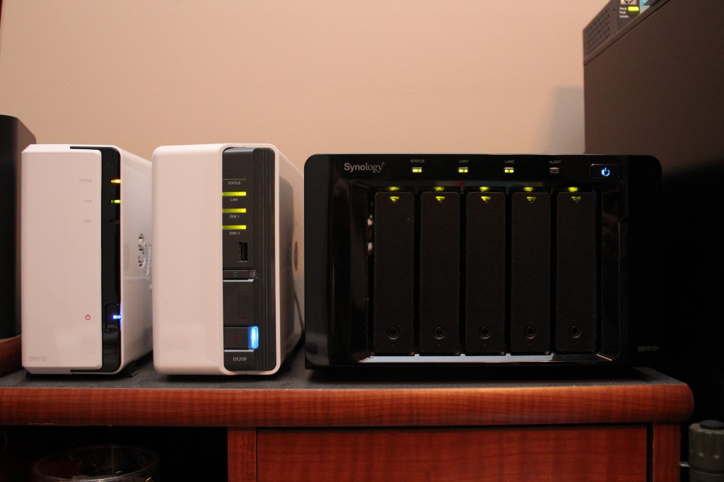 Synology DS112 with Synology DS209 and Synology DS1512+