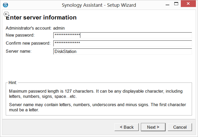 Synology Assistant Setup Wizard - Server Information Administrator Account