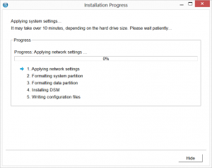 Synology Assistant Installing DSM Progress Screen