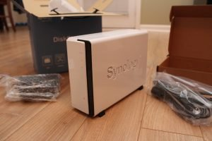 Unboxed Synology DS112 with accessories
