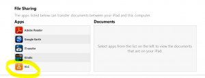iTunes - Device Apps Section - File Sharing