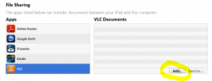 iTunes - Device Apps Section - File Sharing - Adding VLC Documents