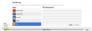VLC Documents show inside Apps storage