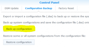 Synology DSM - Control Panel - Configuration Backup