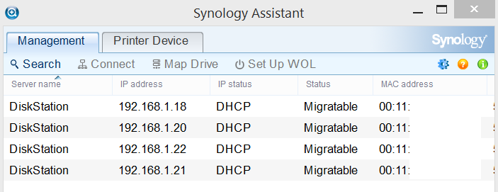 Synology Assistant - Migratable Status
