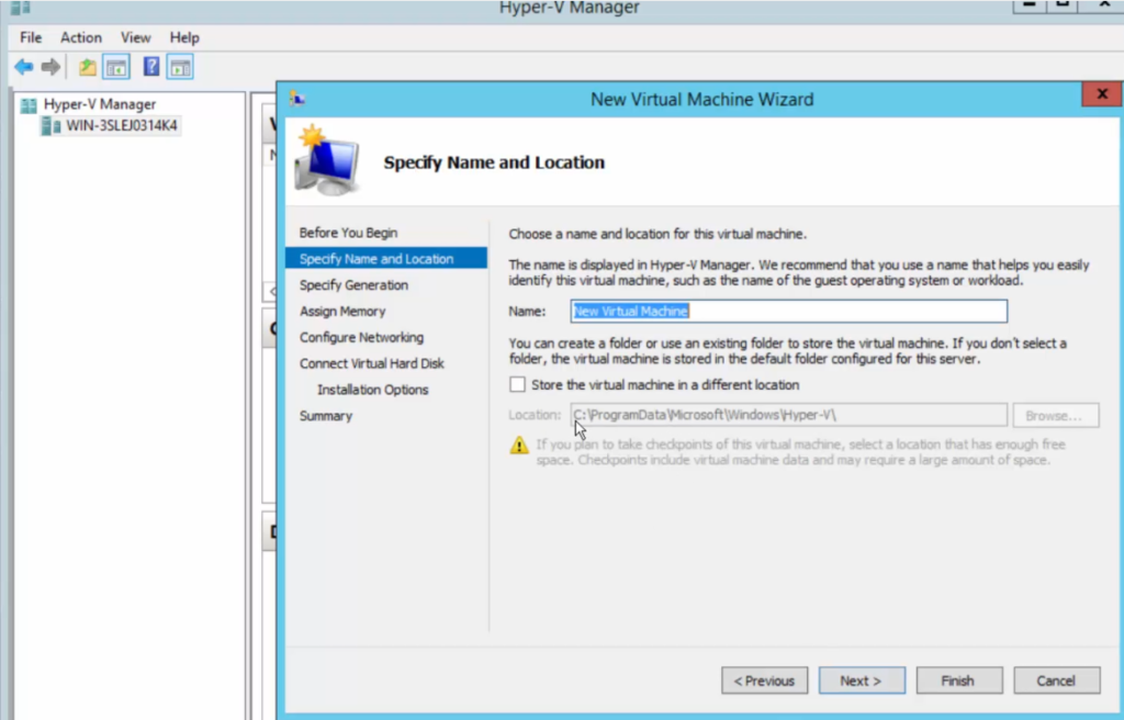 2012R2 - Hyper-V Manager - New Virtual Machine Wizard - VM Store Defaults