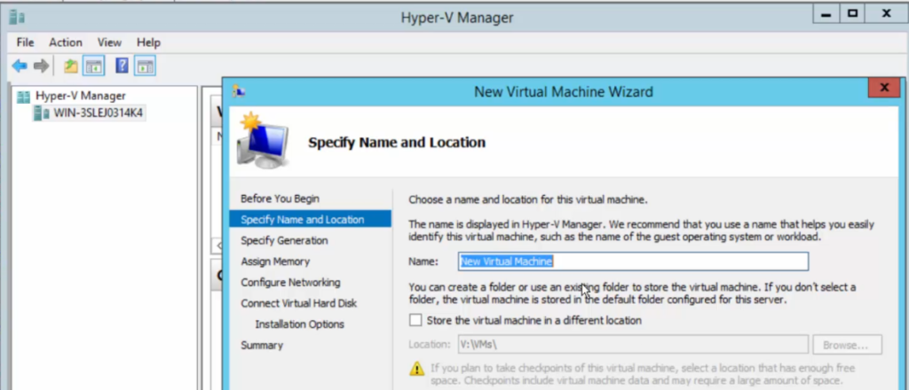 2012R2 - Hyper-V Manager - New Virtual Machine Wizard - VM Store Defaults Changed
