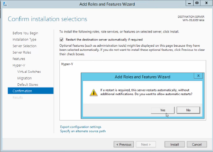 2012R2 Add Roles and Features - Hyper-V - Confirmation