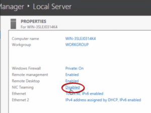 2012R2 Server Manager - Local Server - NIC Teaming