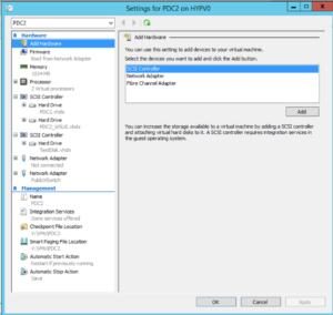 Hyper-V Manager - VM Settings - Add Hardware