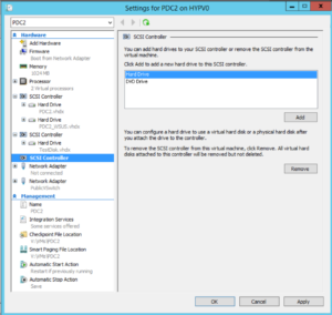 Hyper-V Manager - VM Settings - Add Hard Drive