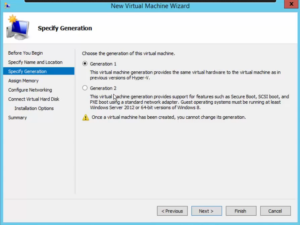 Hyper-V New Virtualization Wizard - Specify Generation