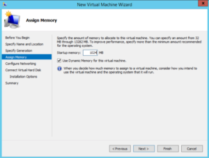 Hyper-V - New Virtual Machine Wizard - Assign Memory