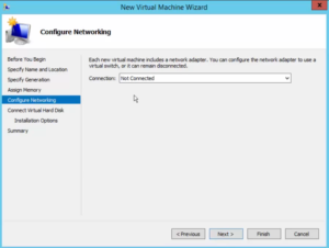 Hyper-V New Virtualization Wizard - Configure Networking