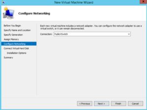 Hyper-V - New Virtual Machine Wizard - Configure Networking