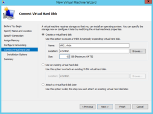 Hyper-V - New Virtual Machine Wizard - Connect Virtual Hard Disk
