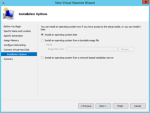 Hyper-V - New Virtual Machine Wizard - OS Installation Options