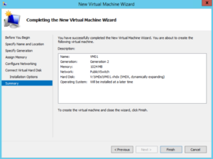 Hyper-V - New Virtual Machine Wizard - Summary