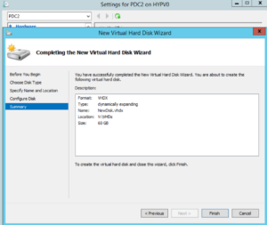 Hyper-V Manager - VM Settings - New Virtual Hard Disk Wizard - Summary