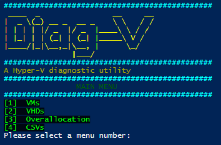 Diag-V - A Hyper-V Diagnostic - Main Menu