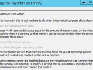 Hyper-V Automatic Stop Action Settings