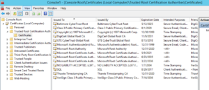 Certificate MMC - Trusted Root Certification Authority Certificates