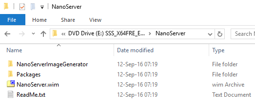 Windows Server 2016 - NanoServer Media files