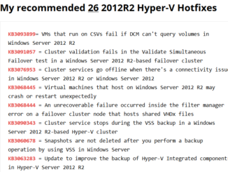 Recommended Hyper-V Hotfixes
