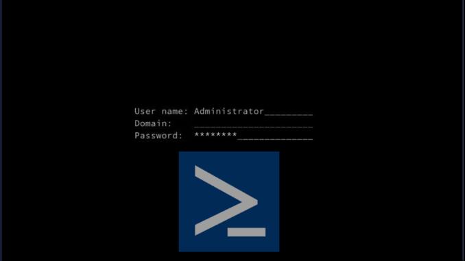 Nano Server Console with PowerShell Logo