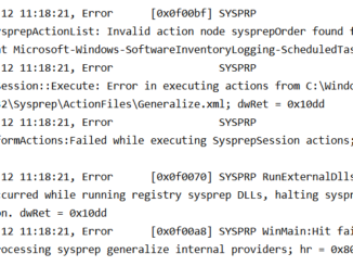 Sysprep error log - sysprepOrder error