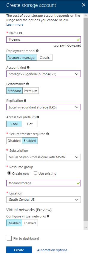Microsoft Azure Creating new Storage Account