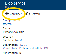 Microsoft Azure Storage Account creating new Blob service container