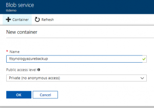 Microsoft Azure Storage Account New Blob service container settings