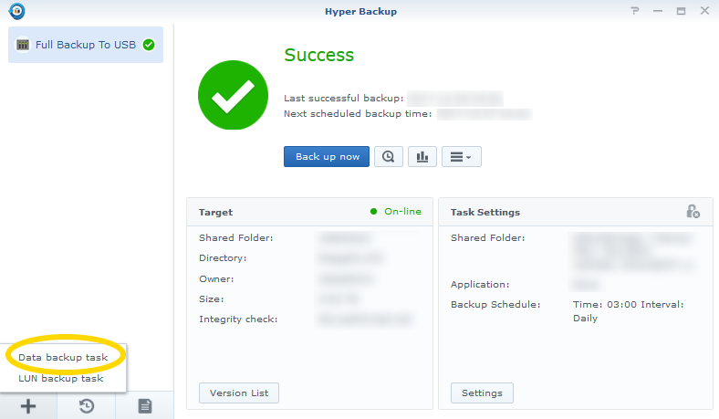 Synology Hyper Backup new Data backup task