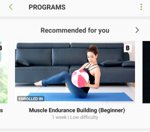 Samsung Health Recommended Programs