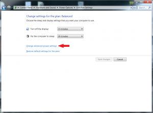 Windows 7 Power Plan Settings