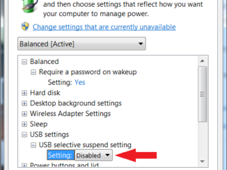 Windows 7 Power Plan Advanced Settings USB Selective Suspend Setting