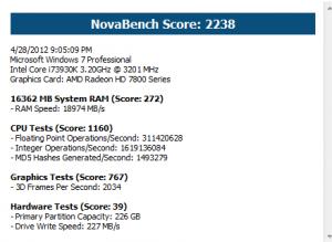 Benchmark results for NovaBench