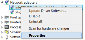 Windows 8 Device Manager - Network adapters properties