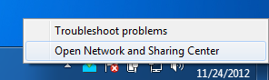 Windows 7 Network and Sharing Center Selection