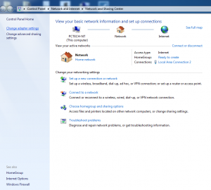 Windows 7 Network and Sharing Center - Change adapter settings