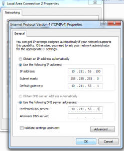 Windows 7 Static IP Assignment - TCP/IPv4 Properties
