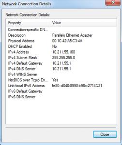 Windows 7 Network Connection Details