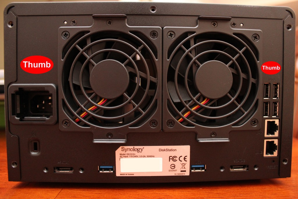 Rear view of Synology DS1512+