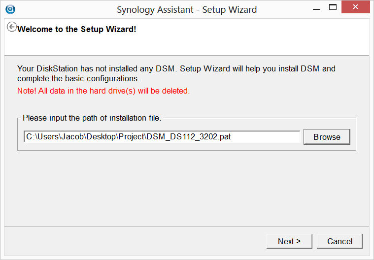 Synology Assistant Setup Wizard - DSM Installation