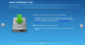 Synology DSM - Migration Setup Selection