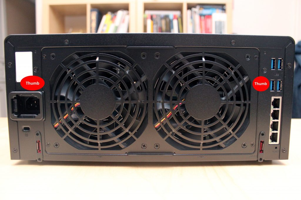 Rear view of Synology DS1815+