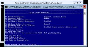 Hyper-V Server Configuration Screen